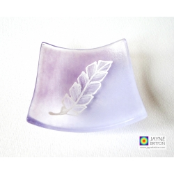 White feather - hand painted bowl on violet purple fused glass