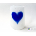 Blue and white heart sconce - tealight candle screen - handmade fused glass