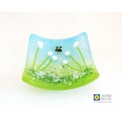 White flower bowl - cottage garden design - handmade textured fused glass
