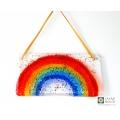 Window Rainbow - Handmade fused glass glittery rainbow light catcher with gold ribbon