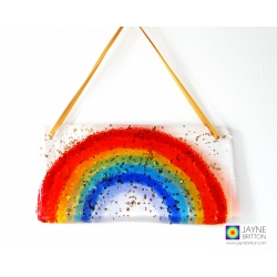 Window Rainbow - Handmade fused glass glittery rainbow light catcher with gold ribbon