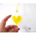 Yellow heart fused glass light catcher - handmade - diamond shape