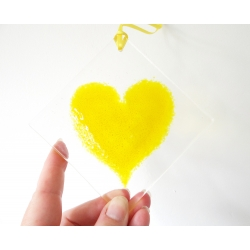 Yellow heart light catcher - diamond shape - larger