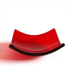 Red fused glass bowl - square - tealight size