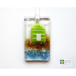 Fused glass greeting card with gift - green and white beach hut