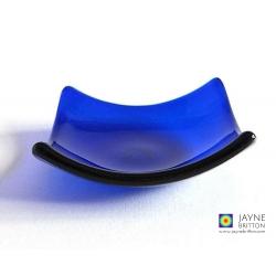 Indigo blue fused glass bowl - square - tealight size