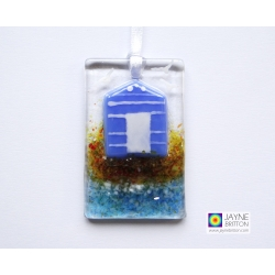 Greeting card with gift - blue and white beach hut light catcher