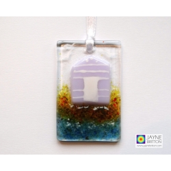 Greeting card with gift - fused glass purple beach hut light catcher
