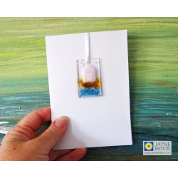 Greeting card with gift - pink and white beach hut - fused glass light catcher