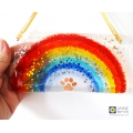 Dog memorial, sparkly rainbow light catcher, doggy paw print, handmade fused glass rainbow suncatcher
