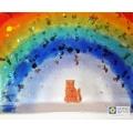 Cat memorial, sparkly rainbow light catcher, handmade fused glass rainbow bridge suncatcher