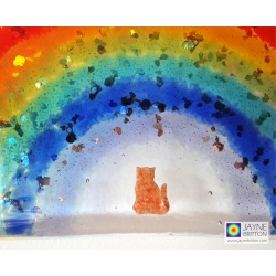 Cat memorial, sparkly rainbow light catcher, handmade fused glass rainbow bridge suncatcher