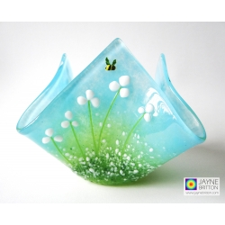 Handmade fused glass candle vase - white flowers with bees