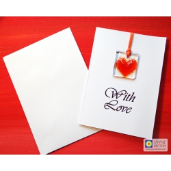 Fused glass greeting card - orange heart light catcher - printed With Love - blank inside