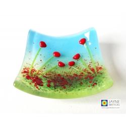 Handmade Red poppy bowl, fused glass, cottage garden design