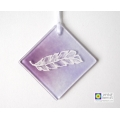 White feather light catcher - diamond shape - purple blended handmade fused glass