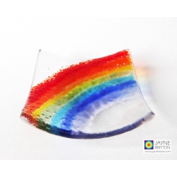 Rainbow, handmade fused glass trinket bowl, ring dish