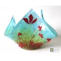 Handmade fused poppies glass candle vase, hankie vase
