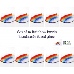 10 Rainbow trinket bowls, wedding favours, party gifts, end of term