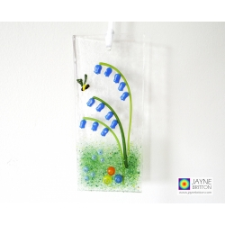 handmade fused glass light catcher, bluebells, forget me not