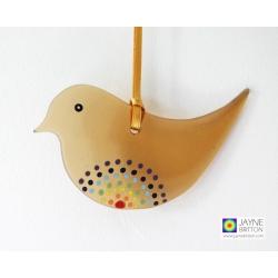 Rainbow bird, dot mandala, brown recycled glass