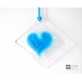 Turquoise blue heart light catcher, diamond shape