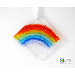 fused glass rainbow light catcher, diamond shape, hanging garden decoration
