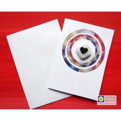 Greeting card with gift, white diamond heart magnet, copper heart, fridge magnet