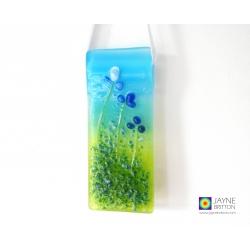 handmade fused glass, Blue flowers light catcher, cottage garden range, wild flowers