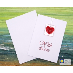 Red heart fused glass greeting card - card with gift - handmade light catcher