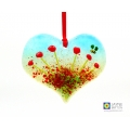 Heart shaped poppies and bee fused glass light catcher, handmade in uk