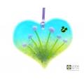 Heart shaped violet purple flowers light catcher with bee - cottage garden range