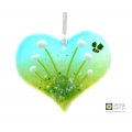 Heart shaped white flowers light catcher with bee - cottage garden range