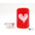 Red and white heart sconce - handmade fused glass curved panel
