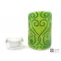 Heart flow pattern sconce - green and blue mini light and candle screen, curved fused glass panel