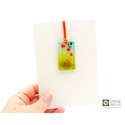 greeting card with gift, fused glass orange flowers light catcher