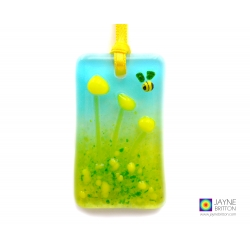 Greeting card with gift - fused glass yellow flowers light catcher