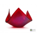 Iridescent red, sparkly candle vase, hankie vase, handmade fused glass