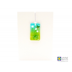 Greeting card with gift - fused glass white flowers light catcher