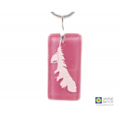 Angel feather pendant, handmade pink opal glass, archangel chamuel