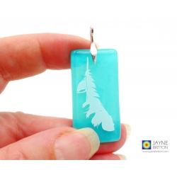 Angel feather pendant on turquoise blue opal glass, Archangel Haniel