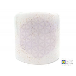 Flower of Life Sconce - small light and candle screen - white