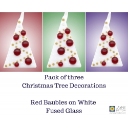 Christmas tree decorations, three fused glass, red baubles white tree