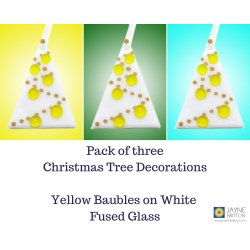 Three fused glass Christmas Tree decorations - white tree with yellow baubles