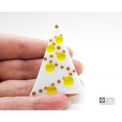 Fused glass Christmas Tree decoration - white tree with yellow baubles