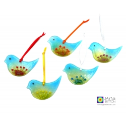 Flock of five fused glass birds, blue green with textured flowers, christmas tree decorations, guest gifts, table gifts
