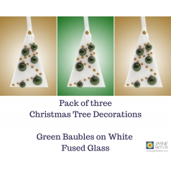 Set of 3 fused glass christmas tree decorations, sparkly green, xmas decs
