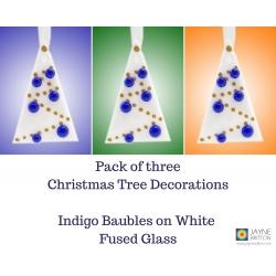 Set of 3 fused glass Christmas tree decorations, white tree, indigo blue baubles
