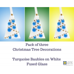 Set of 3 fused glass Christmas tree decorations, White Tree, turquoise blue baubles, christmas gift, xmas tree, christmas gift
