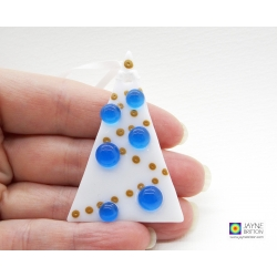 Fused glass christmas tree decoration, white tree, turquoise blue, xmas dec